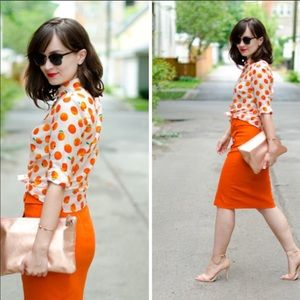 J. Crew PERFECT Cotton/Silk Blouse with Oranges  2